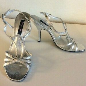 🍍 Nina Silver Varsha Strappy Heels NWOT